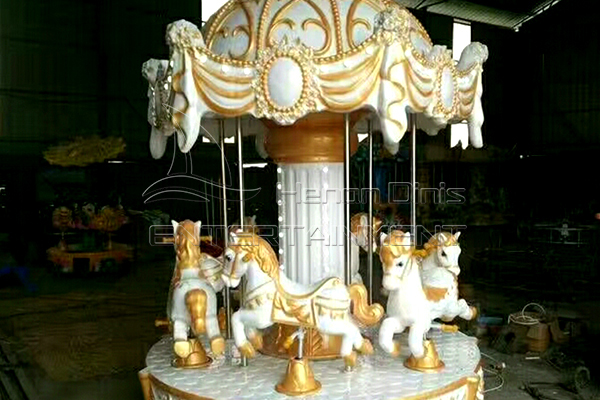 Dinis coin fiberglass three players carousel horse for sale