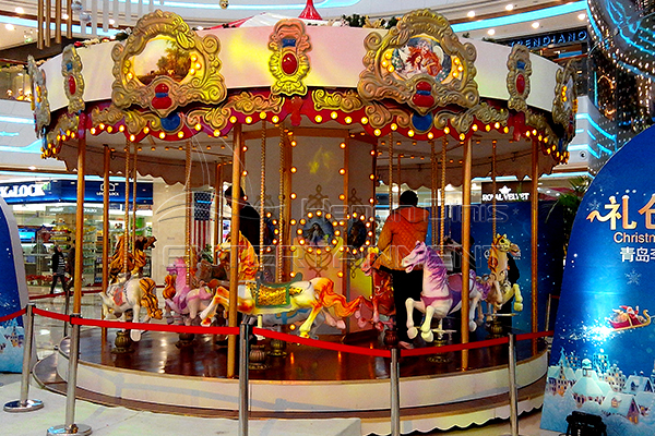 a carnival merry go round rotates
